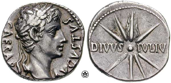 Moeda de Augusto César, o primeiro imperador de Roma e colecionador de moedas