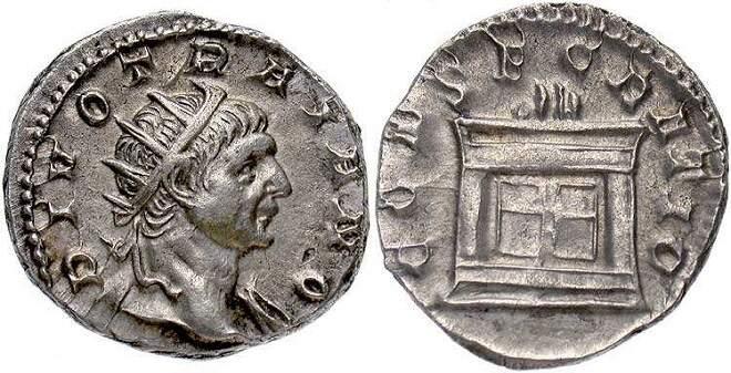 Antoniniano do imperador Trajano divinizado, cunhado durante o governo de Décio.