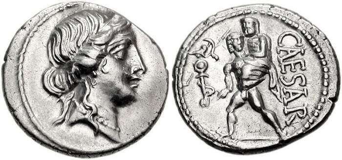 Moeda do general romano Júlio César, que traz a deusa do amor, Vênus.