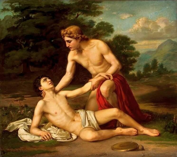 """Pintura """"Morte de Jacinto""""."""