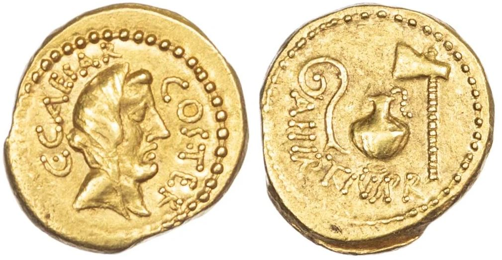 Áureo de ouro de Júlio César.